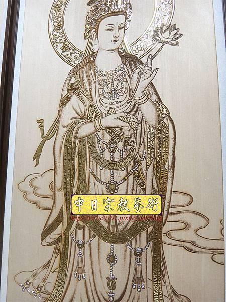 A19409.現代神桌木雕神明聯 西方三聖5尺8木雕佛聯.JPG