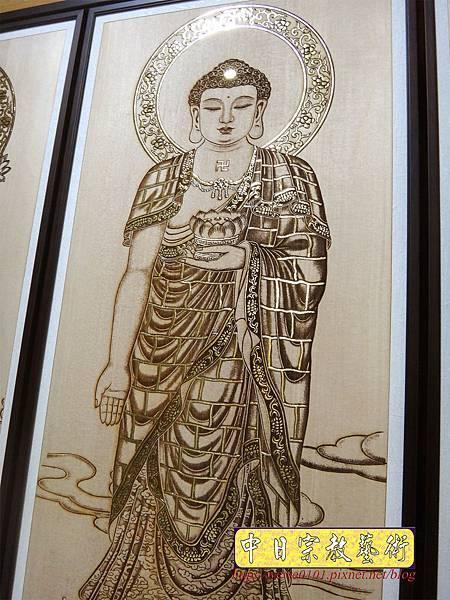 A19406.現代神桌木雕神明聯 西方三聖5尺8木雕佛聯.JPG