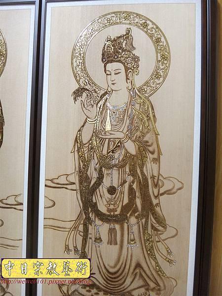 A19413.現代神桌木雕神明聯 西方三聖5尺8木雕佛聯.JPG