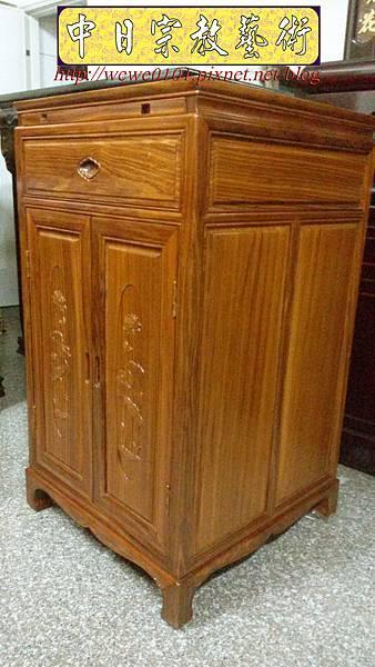 E14403.二尺寬三尺半高柚木雙門雙層單抽公媽櫃.jpg