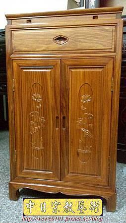 E14401.二尺寬三尺半高柚木雙門雙層單抽公媽櫃.jpg