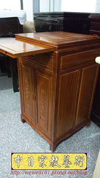 E14404.二尺寬三尺半高柚木雙門雙層單抽公媽櫃.jpg