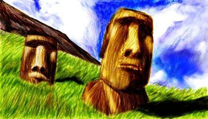 復活島的蕃薯頭(摩艾像Moai)