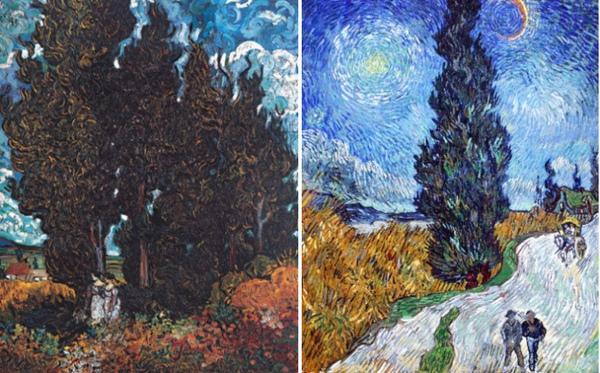 左-絲柏樹與兩個女人右-星空下的絲柏路