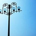 日月潭。藍燈