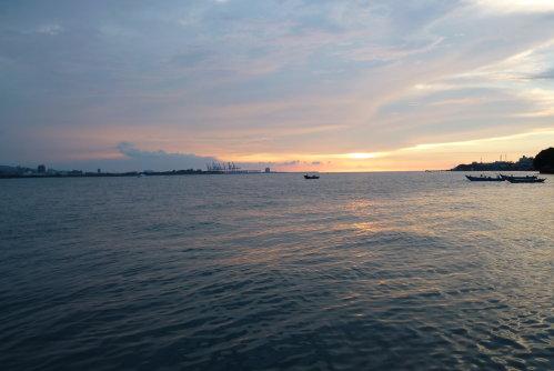 淡水河。夕陽1