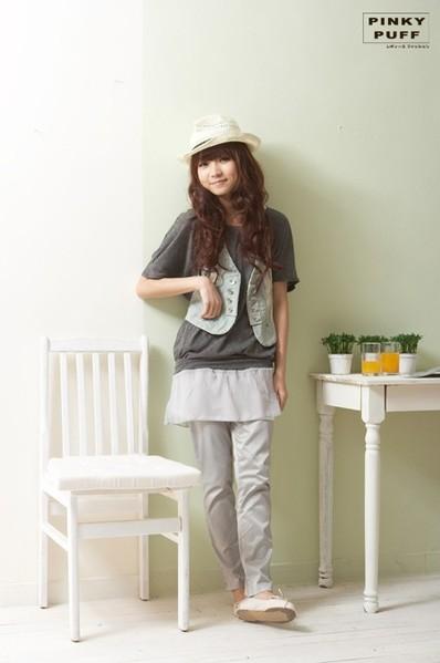 *╮PinkyPuff小粉撲【C60994】春樣繽紛.日系單寧基本款西裝背心2色