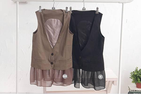 IMAGINE╭*【N71074】ViVi雜誌款時尚假口袋設計雪紡紗下擺西裝背心 $390
