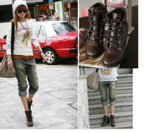 韓版  馬丁系粗高跟短靴矮幫靴*韓國網站照