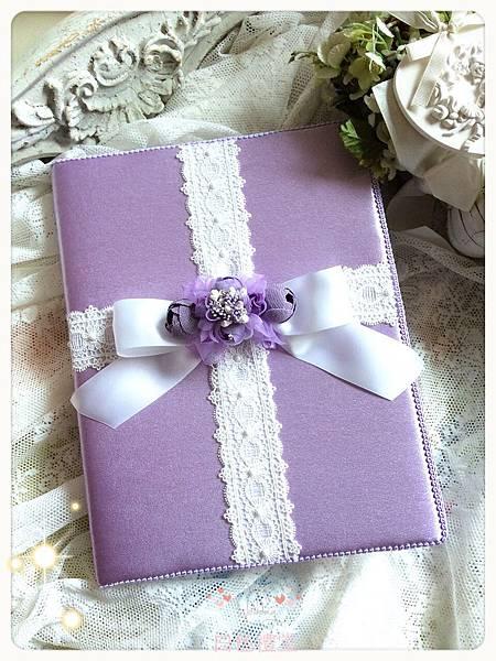 06法式古董Tiffany's結婚證書夾 (紫色-捧花系列)
