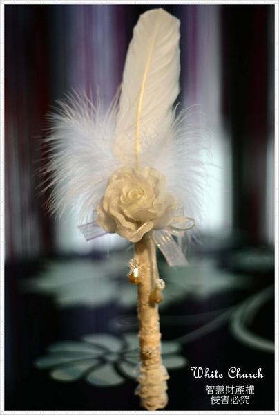 白色禮堂~98/9/4歐式宮廷蕾絲羽毛簽名筆(白色&粉紅色)