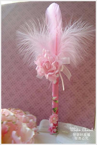 白色禮堂~98/11/4和風花之舞~粉紅羽毛簽名筆
