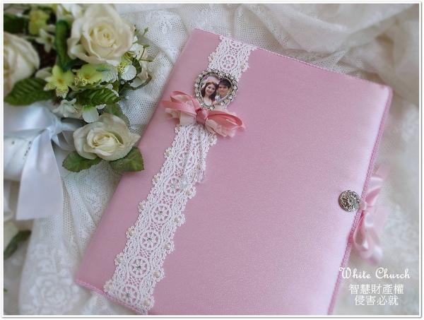 白色禮堂~99/10/25~True Heart系列~手作西式結婚證書夾(粉紅)