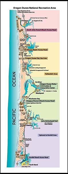 Map for Oregon Dunes Natiional Recreation Area