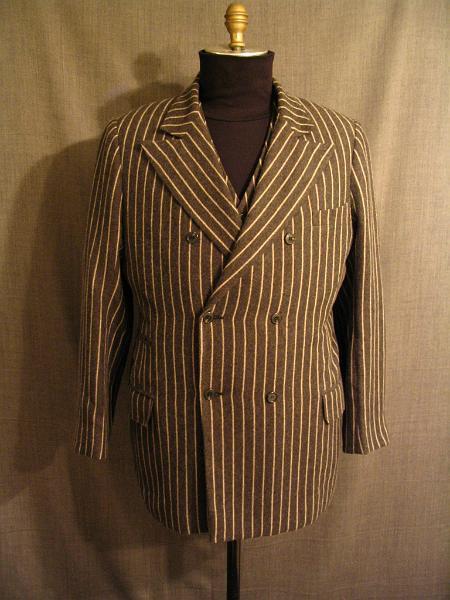 09006853 09019327 09019525 Suit 3 piece 1930 charcoal stripe wool, C42 W37