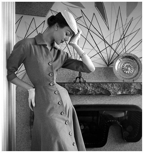 ivy-nicholson-in-a-princess-line-dress-of-tobacco-jersey-by-jacques-fath-photo-by-georges-dambier-nouveau-femina-march-1954