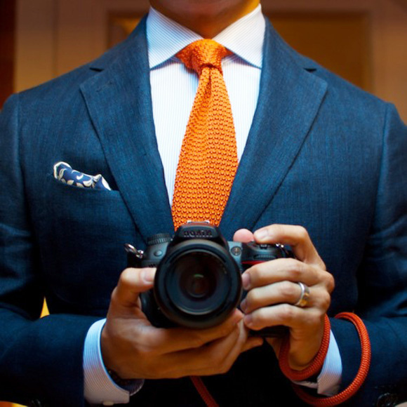 orange-knitted-tie-navy-blazer-paisley-pocket-square-wide-spread-collar-dslr
