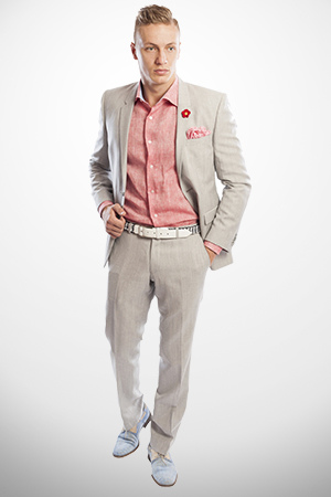 gray-suit-pastel-shirt-for-engagement-party