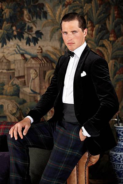 Velvet-Shawl-Collar-Jacket-with-Plaid-Trousers
