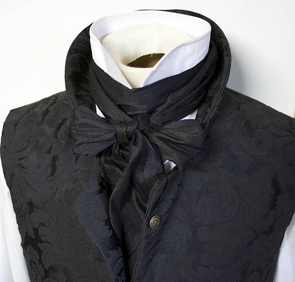 extra-long-regency-victorian-style-ascot-tie-cravat-midnight-black-dupioni-silk-3-inch-width-3