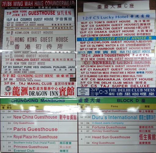 2008/2009年重慶大廈BCD座旅館一覽