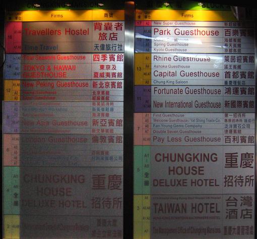 2009年重慶大廈A座旅館一覽