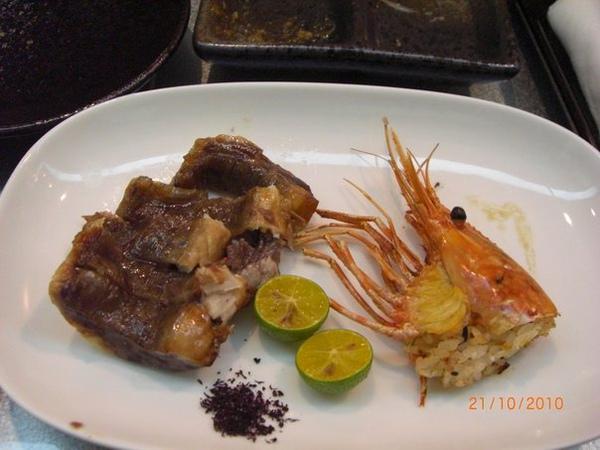 烤鮪魚和牡丹蝦頭