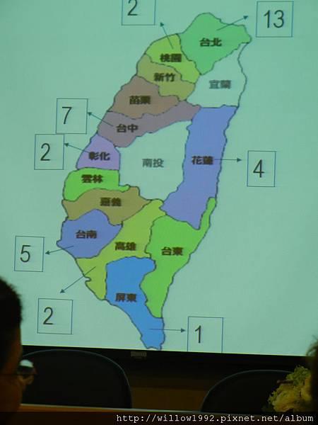 在台灣有登記的看診泌乳顧問分佈.JPG