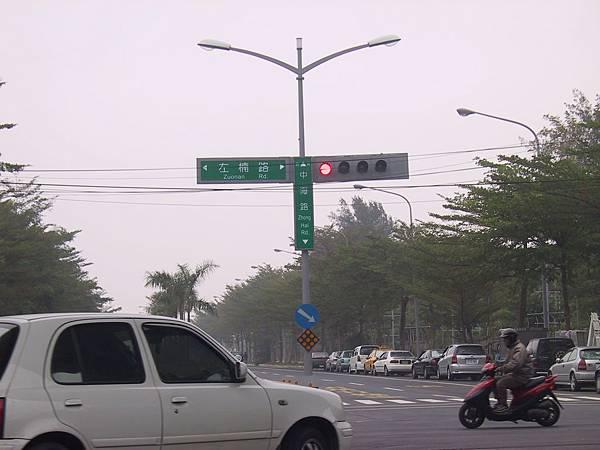 左楠路中海路口的共桿化號誌
