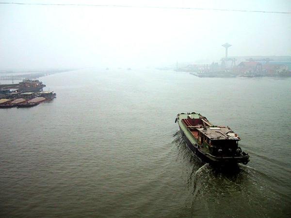 回程過周庄大橋時望向北白蕩的江面