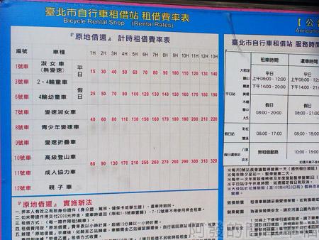 古亭河濱公園03台北市腳踏車服務中心價目表