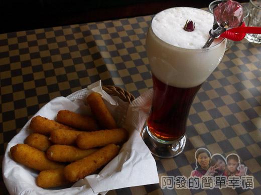 梅花湖-飛行碼頭24炸起司條和冰玫瑰奶茶