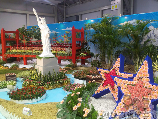 臺北花卉裝置藝術設計大展48-金山國度-金門大橋n自由女神n好萊塢