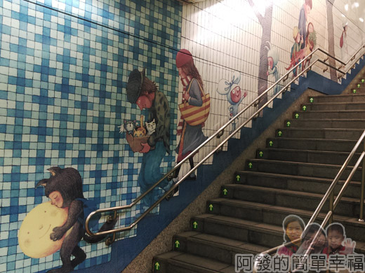 幾米吹泡泡裝置展35-捷運南港站-樓梯牆上的幾米繪圖I.jpg
