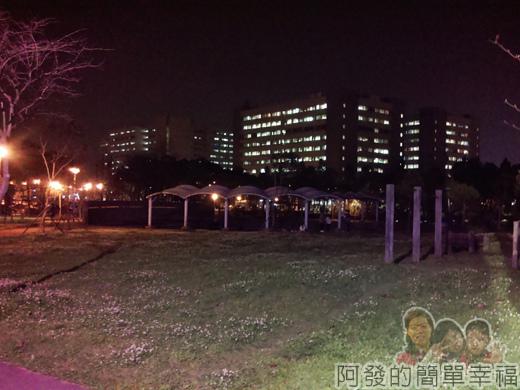 林口文化公園夜市43-夜晚的長庚湖與長庚醫院