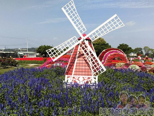 中社觀光花市15-歐式庭園區-風車與紫色鼠尾草