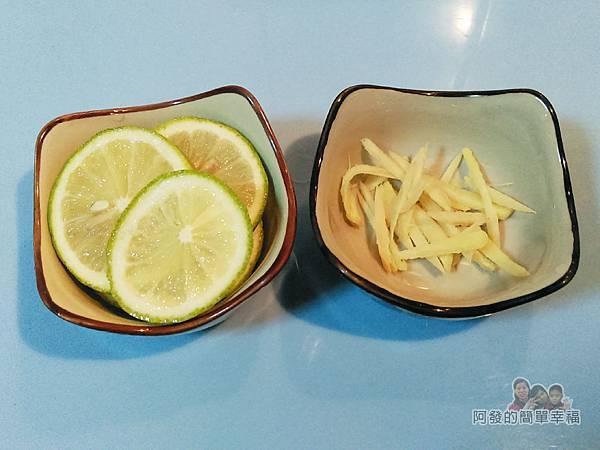 香煎虱目魚肚02-檸檬切片薑切絲