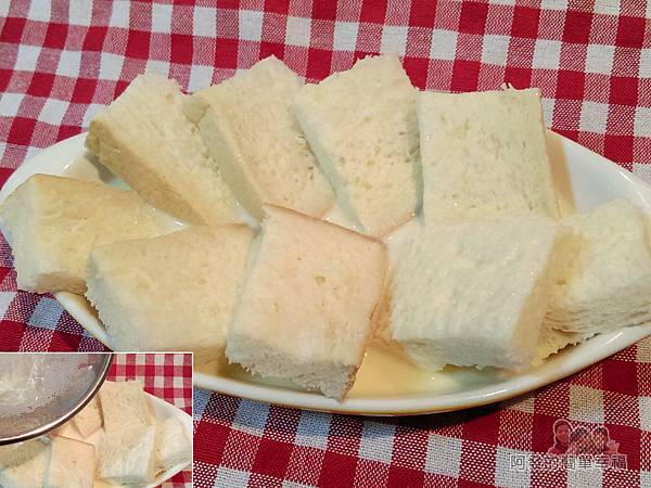法式布丁吐司04-用篩子濾鮮奶雞蛋汁淋在吐司上