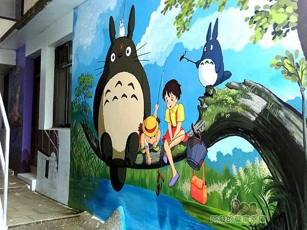 苗栗獅潭彩繪18-神秘小徑內牆上彩繪-龍貓