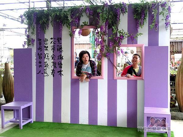 台北花卉村13-珠簾走廊-紫藤花屋簷造景拍照區