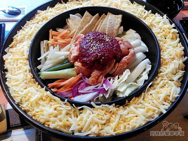 OMAYA春川炒雞27-李光洙(雙倍起司)春川炒雞鍋俯視
