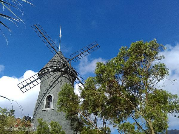 金車伯朗城堡咖啡館07-大風車綠樹與藍天