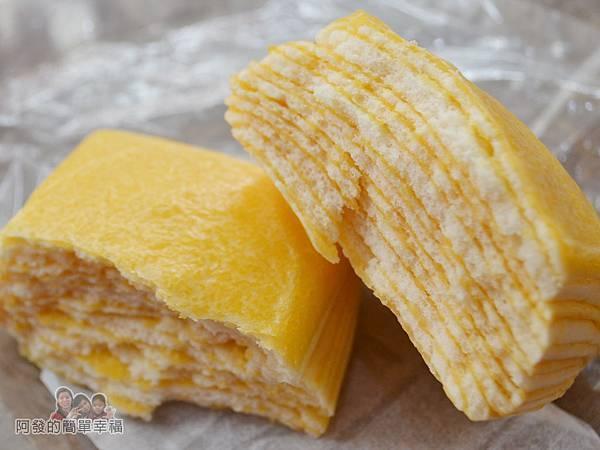 老竹子三發包子11-奶黃千層派剖面