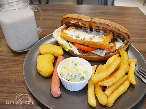 瑞比早午餐35-瑞比魚排鬆餅+B套餐