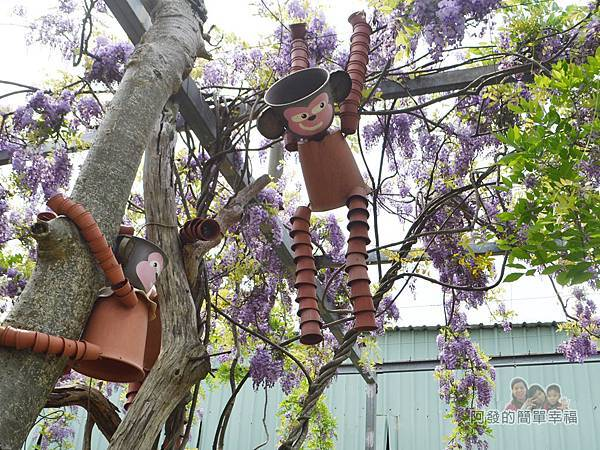 台北花卉村26-新娘禮車停車區(棚架區)-紫藤花叢中十分可愛生動的陶罐猴