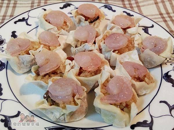 肉粽變燒賣04-放上蝦仁
