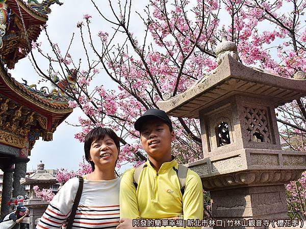 竹林山觀音寺08-石燈與盛開的櫻花.JPG