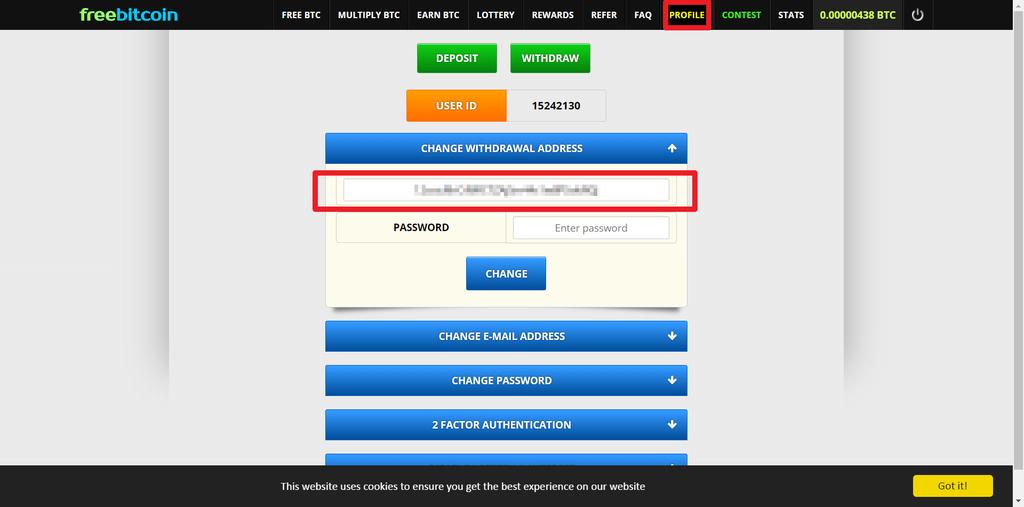 freebitco.in出金比特幣錢包位址設定