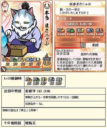 0 - 信喵之野望 - 貓戰記 - 關原復刻 02 - 本多正信.JPG
