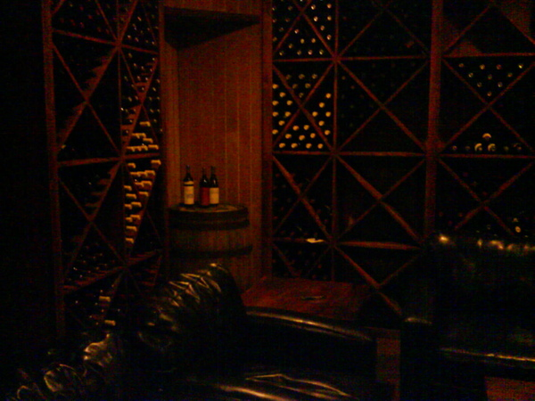 Monticello Wine-Tasting Room: small part of wine cellar